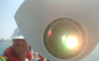 Commissioning of a Sealite 5 degree PEL (Port Entry Light) in Dubai Waters