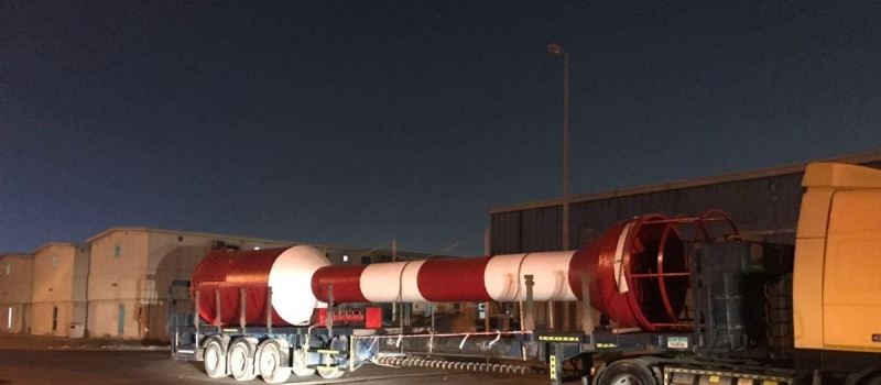 Custom made 16 meter Port Entry Tower being transported to the east coast of the United Arab Emirates