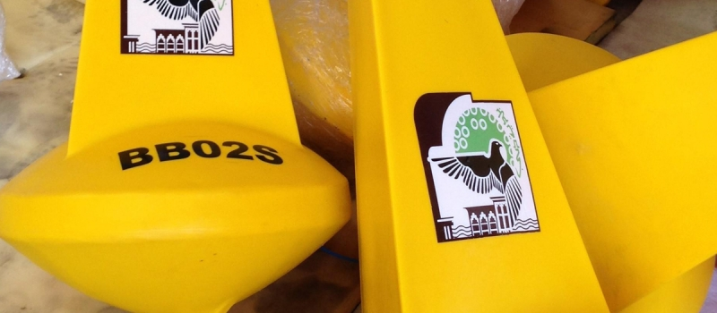 Customization of Sealite  SLB700 Marker Buoy fitted with Post Mould Graphics .
