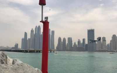 FIxed Marker installed in Dubai Marina fitted with Sealite SL-70 2 to 3Nm compact solar powered navigation light