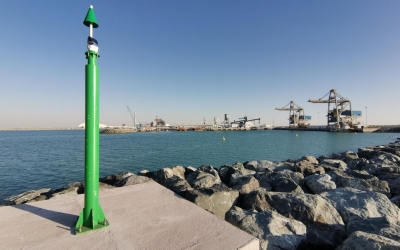 Fixed navigation markers installed at Al Hassyan clean coal power plant in Dubai The navigation marker is fixed with Sealite SL-75 3 to 5nm
