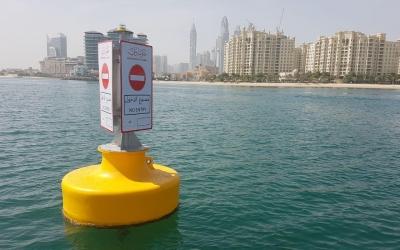 Installation of custom signage buoys