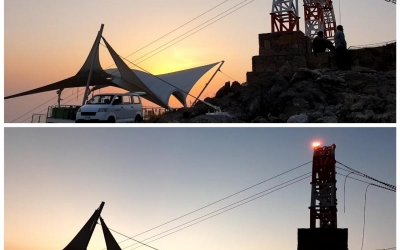 Medium intensity obstruction light maintenance at Jebel Jais, Ras Al Khaimah. United Arab Emirates.