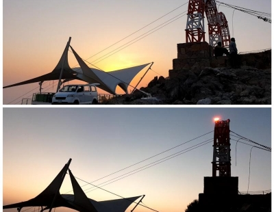 Medium intensity obstruction light maintenance at Jebel Jais, Ras Al Khaimah. United Arab Emirates.
