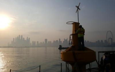 Preparation for installation of Sealite Atlantic 2600mm buoy infront of the Dubai skyline