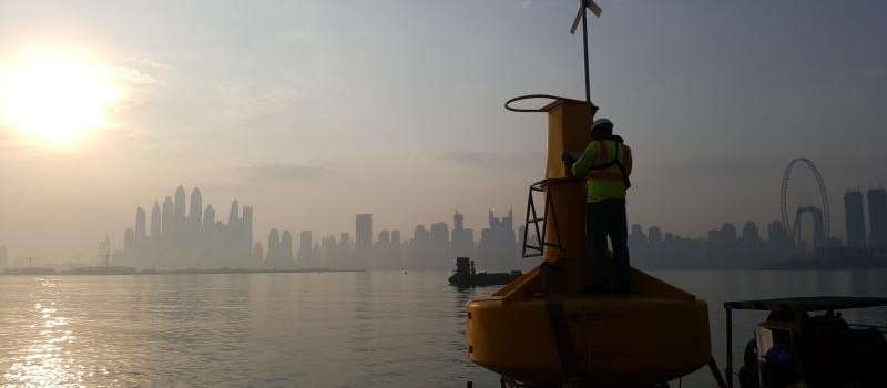 Preparation for installation of Sealite Atlantic 2600mm buoy infront of the Dubai skyline