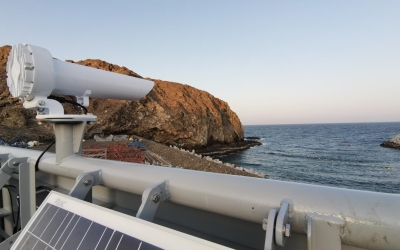 Sealite Led port entry light (PEL-10) with custom day mark structure and solar power pack