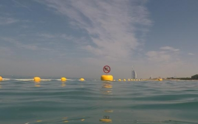 Swimming demarcation lines installed at Black Palace Beach in Dubai , moored with Sealite Synthetic Strops